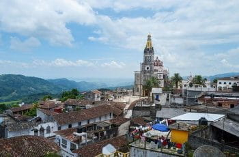 The skyline in Cuetzalan, Mexico, during the day.