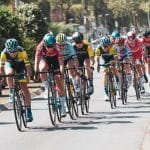 The peloton of a cycling race.