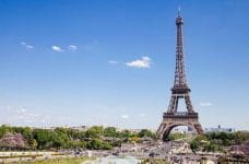 The Eiffel Tower in Paris, France on a sunny day.