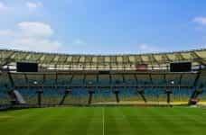 An empty football stadium.