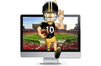 US football player runs straight out of the computer screen, which shows a football game.