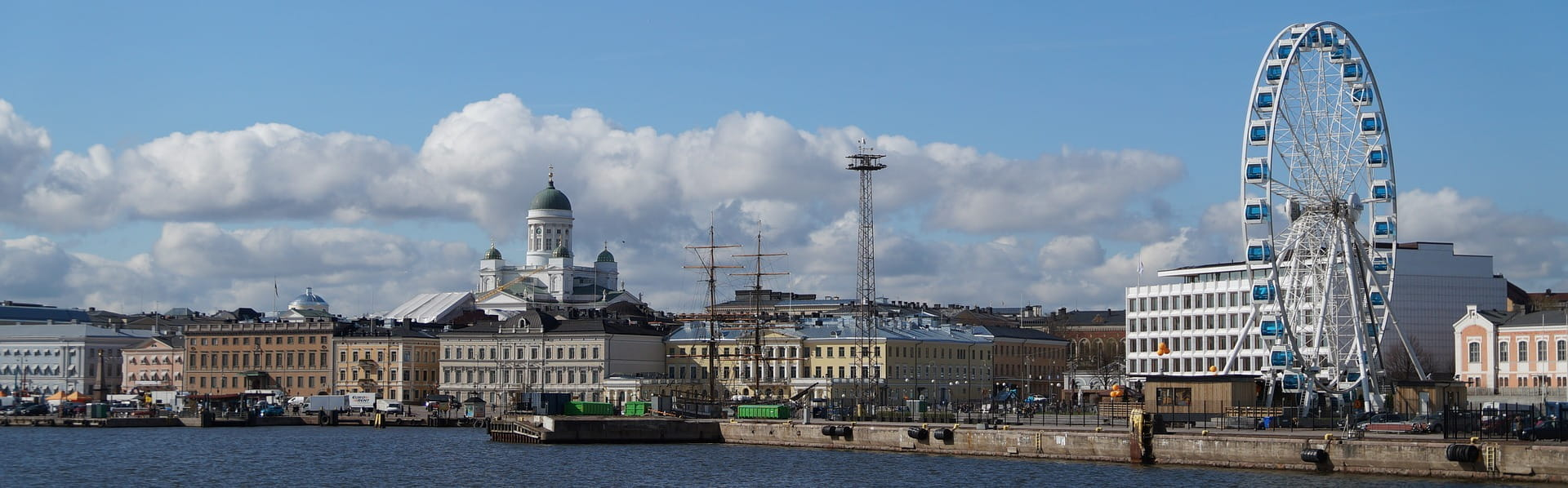 A panorama of the waterfront in Helsinki, Finland.