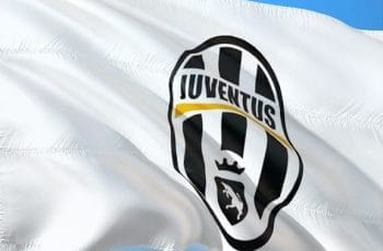 A flag with the badge of Juventus on it.