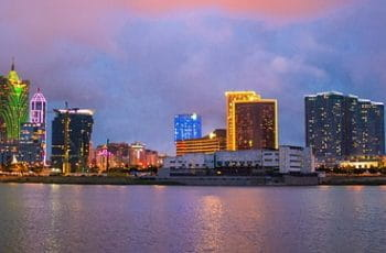 A landscape view of the Macau skyline at night.