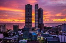 The skyline of Manila at sunset.