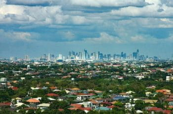 The skyline and outskirts of Manila in the Philippines.