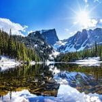 A clear lake in Rocky Mountain National Park, Colorado, USA.