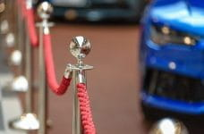 A red rope as would be found around a VIP area or a red carpet.