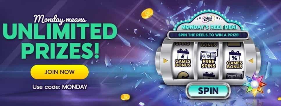 The Reel Deal Monday bonus from Wink Slots.