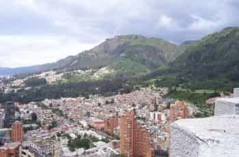 The skyline of Bogotá, Colombia.