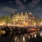 A bridge over the river in Amsterdam.
