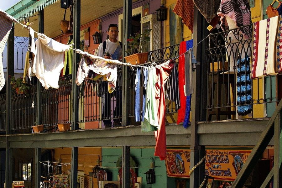 A clothesline in a colorful caminito in Buenos Aires, Argentina.
