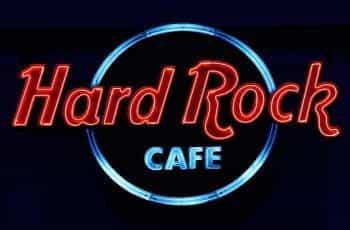 A neon sign for the Hard Rock Café.