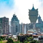Buildings and trees in the Macau skyline.