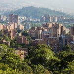 The skyline in Medellín, Colombia.