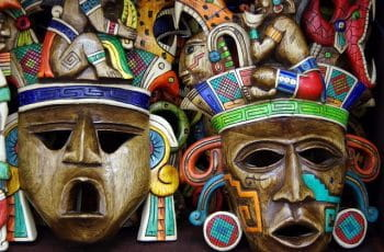 Colorful painted wooden masks in Mexico.
