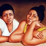 A fresco of two women in Cancún, Mexico.