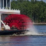 A massive river boat on the water in Mississippi, US.