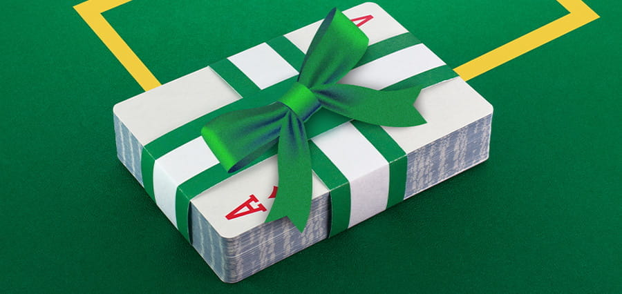 A pack of playing cards, wrapped in a bow.