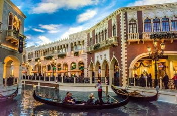 A gondola on the canal inside The Venetian, Las Vegas.