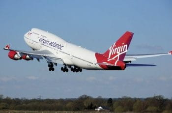 A Virgin Atlantic airplane takes off.