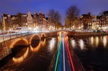 A long exposure of a bridge in Amsterdam.