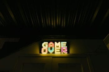 A neon sign saying Game Over.