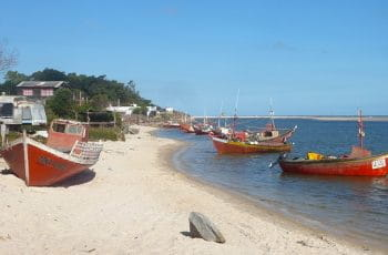 Boats on the beach in Canelones, Uruguay.