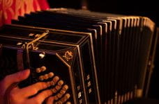 A musician plays an accordion in Buenos Aires, Argentina.