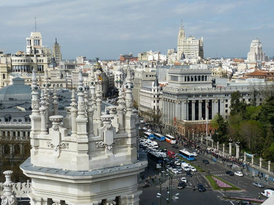 Cakrawala kota Madrid, Spanyol.