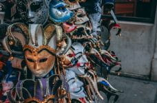 Colorful Mardi Gras masks for sale in New Orleans, Louisiana.
