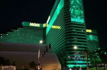 The MGM Grand in Las Vegas, Nevada, at night.
