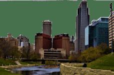 The city skyline in Omaha, Nebraska.