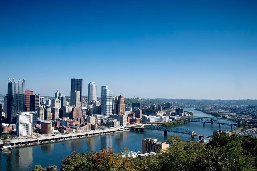 The skyline in Pittsburgh, Pennsylvania.