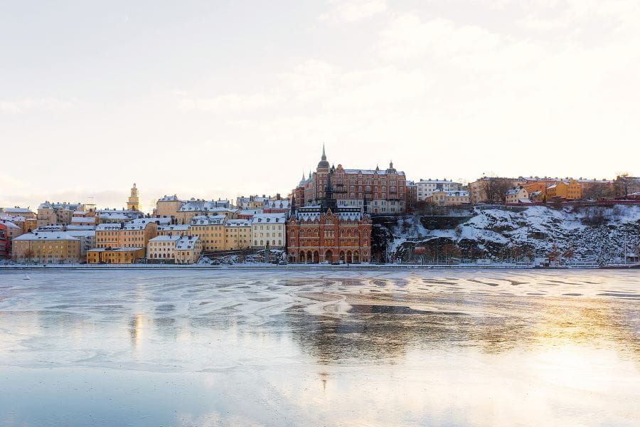 The Swedish capital of Stockholm frozen over during winter.