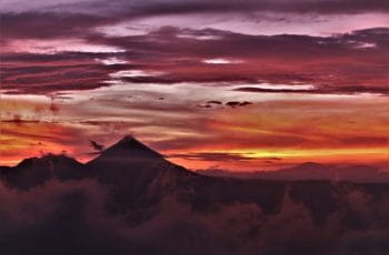 Sunset over the Arenal Volcano in Costa Rica.