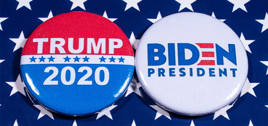 2020 US election buttons for the Trump and Biden campaigns.