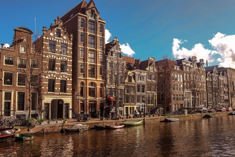 A picturesque embankment in the Dutch capital Amsterdam.
