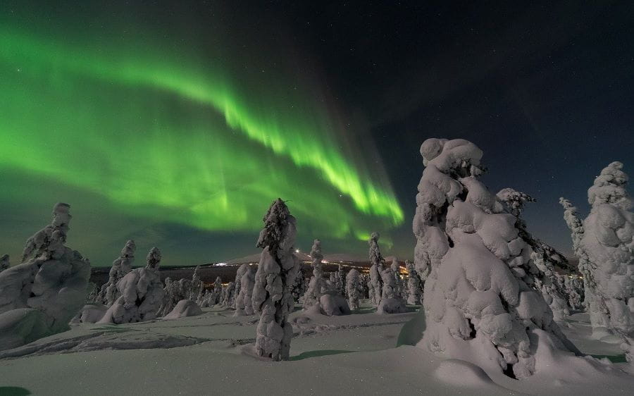 One of Finland's greatest natural wonders — the Aurora Borealis, also commonly referred to as the Northern Lights.