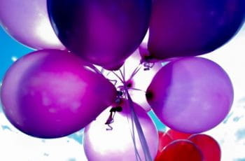 A bunch of purple balloons.