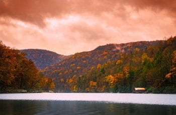 Fall foliage on the trees around Cheat Lake in West Virginia, US.