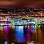 Heinz Field in Pittsburgh, Pennsylvania, at night.