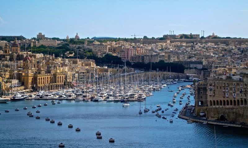 Area pelabuhan di pulau Malta di Eropa Mediterania.