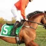 Seorang joki berjaket oranye menunggang kuda.