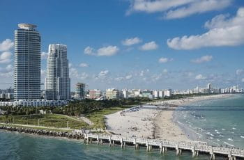 The coastline in Miami, Florida, US.