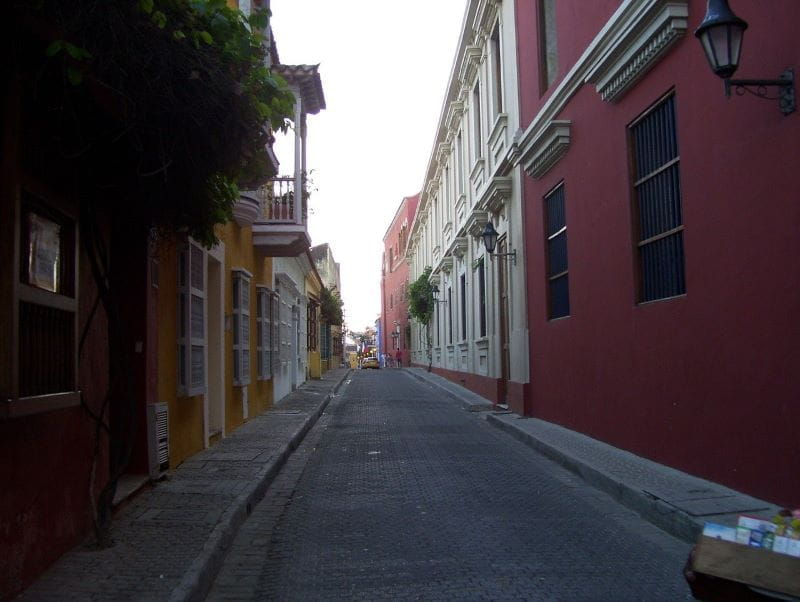 A quiet residential street in Cartagena, Colombia.