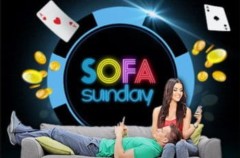 """A man and woman on a sofa, with the words """"sofa sunday""""."""