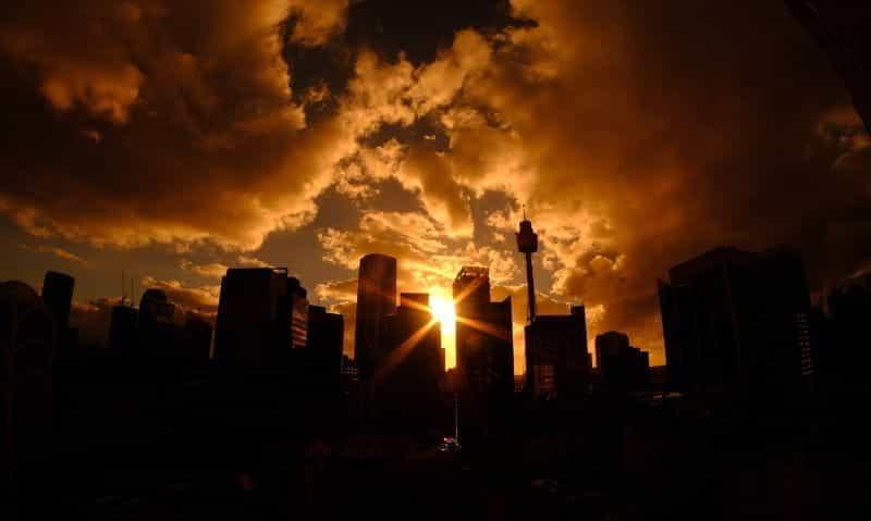 Cakrawala Sydney di malam hari.