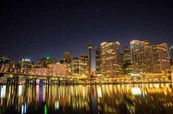Sydney nighttime skyline.