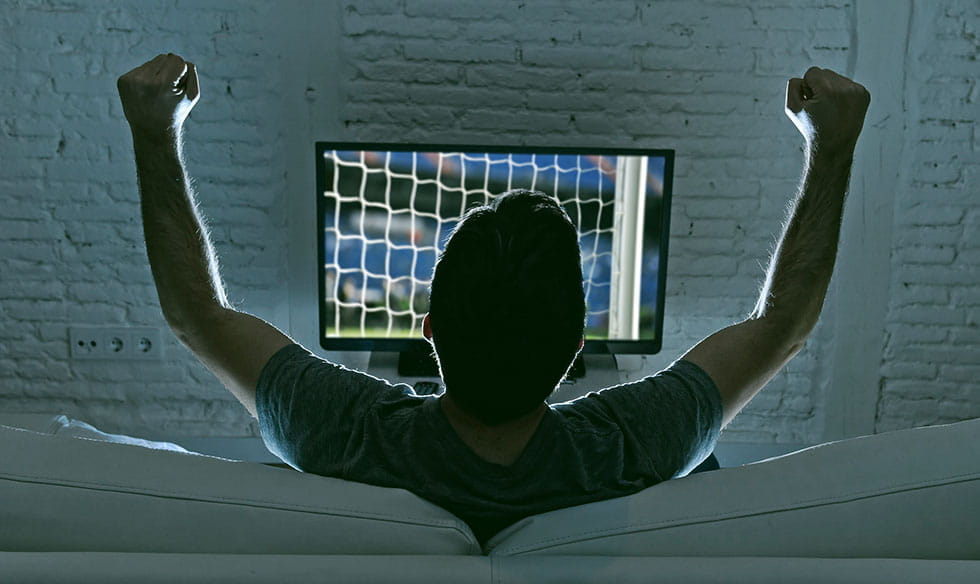 A man celebrating in front of a TV.